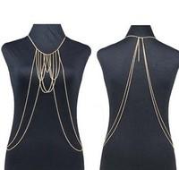 2014 Newest 18K Gold Draped Harness Body Chain Necklace Fashion Charm Statement Necklace Jewelry