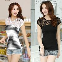 QingYWomen t-shirt 2014 new Korean wild Slim was thin hollow lace stitching round neck short sleeve t-shirt summer