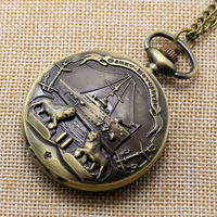 Antique Bronze Charm Pattern Pendant Chain Quartz Vintage  Pocket Watch for Men and Women P211