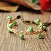 Jingdezhen ceramic accessories handmade knitted bracelet vintage bronze color adjustable