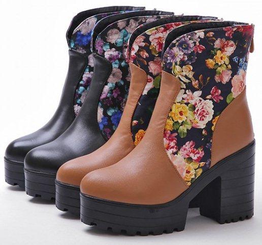 New 2014 Autumn Winter Ladies shoes Ankle boots Sapatos Platform Print Zipper Flower Hot sale Black Yellow Fashion Sexy QA3192(China (Mainland))