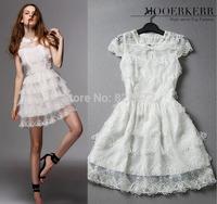 2014 European and American fine new listing soluble flower princess dress fashion dress handmade beaded mini dress
