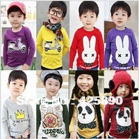2014 children clothes boys girls  t shirt multicolor optional cartoon children long sleeve t-shirts children's t-shirt
