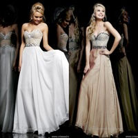 2014 New Hot Sale Fashion Sweetheart Chiffon Long Evening Dress Rhinestone Sexy Floor Length Prom Dress