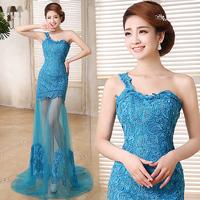 2014 new long blue  low-high bride  evening dress prom  wedding party dress under $100