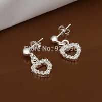 E476 new design Hot Sale!!Free Shipping 925 sterling silver Earring,Fashion 925 silver Jewelry Austria Crystal Heart Earrings