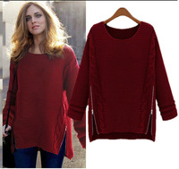 2014 new fashion spring and autumn zipper short design sweater o-neck pullover double side zipper loose sweaters for women
