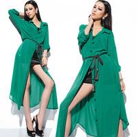 2014 summer new women dress European style elegant high quality long-sleeved party dresses temperament Slim long section S-L