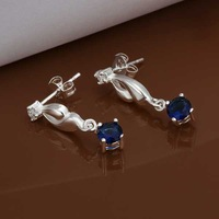 E474 new design Hot Sale!!Free Shipping 925 sterling silver Earring,Fashion 925 silver Jewelry Austria Crystal Earrings