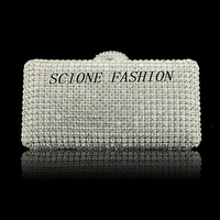 New Arrival Women Luxury Single Side Crystal Diamond Clutch Evening Bag,Party bag,Wedding Handbags With Chain,Free Shipping SH92