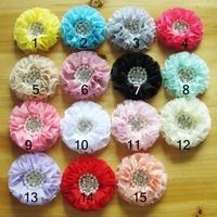 "New Stock Handmade 3"" Beaded Chiffon Flowers Pearl Rhinestone Ruffled Flower 15 color Hair Accessories Free Shipping 30pcs DF24"