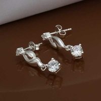 E472 new design Hot Sale!!Free Shipping 925 sterling silver Earring,Fashion 925 silver Jewelry Austria Crystal Earrings