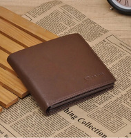 2014 New Fashion High Quality Men Wallets Brief Paragraph Leather Wallet  Full Head Layer Cowhide Genuine Leather Wallet Men