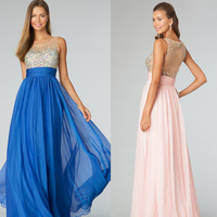2014 Charming Evening/Prom Dresses Blue scoop See Through Colorful Beaded Evening Gowns  Chiffon elegant dress
