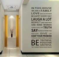 DF5206 Free shipping Family House Rules stickers wall Decal Removable Art Vinyl Decor Home Kids wall stickers