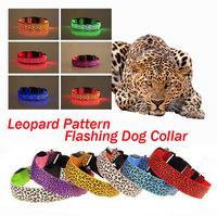 Free Shipping Nylon New Leopard Pattern Flashing Dog Collar, Multi-colors LED Dog Flashing Collar, Length Adjustable.