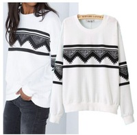 2014 Brand New Women's White Color Geometric National Print Hoody Sweatshirt Hoodies sudadera SML