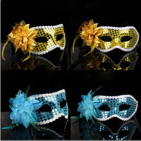 2014 New Party Mask With Dot Sequins Princess Flower Side Masquerade Masks For Adult Female Wear Fedex Free Shipping