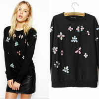 2014 Brand New Women's Black Color Arylic Floral Deco Hoody Sweatshirt Hoodies sudadera ML