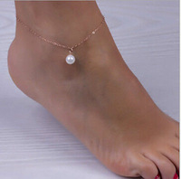 Hot Sexy Handmade Gold Chian Pearl Bead Anklet Yoga Jewelry Foot Chain F001
