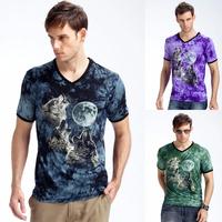 2014 New Fashion Summer Men's Brand Shirts Men O Neck Shorts MenT shirt 3d Woof Print Man T-shirts Free Shipping