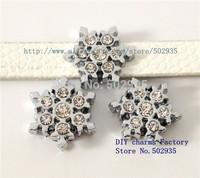 SL209  50pcs 8mm rhinestone Snowflake slide Charms DIY Accessories Fit Pet Collars wristbands