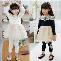 Retail 2014 fall new cotton baby girls dress casual kids clothes kids dress vestidos de menina roupa infantil navy white