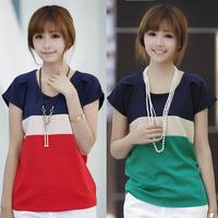 2014 Summer Women's Clothing Women Patchwork Chiffon Short Sleeve T-shirt Woman Chiffon Short Sleeve Tee shirt Crop Top E1472