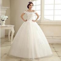 Fashion Lace Wedding dress 2014 Boat Neck Princess White Plus size Custom Made vestido de noiva wedding dresses bridal gown W39