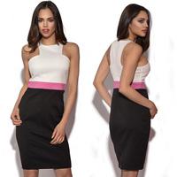New Summer Hot Sale Vestidos Women OL Office Work Wear Pencil Dress White Pink Black Patchwork Sexy Club Party Dresses YK019