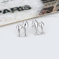 Free shipping ! Stylish design 925 silver ear stud for woman dolphin shape silver ear stud silver ear ring ED011