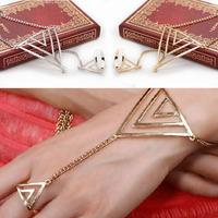 2014 New Fantastic Fashion Women Triangle Hand Bracelet Finger Bangle Slave Chain Free Shipping&Wholesale Feida
