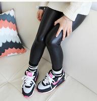2014 new arrival girls autumn fashion black leather pants kids korea design leggings 227