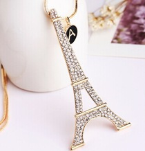 Violetta/rhinestone gold jewelry eiffel tower long pendant necklace/collier women fashion 2014/collar largo/bijouterias/jewelery