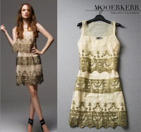 2014 new European and American women's high-end elegant embroidered gauze dress / party dress