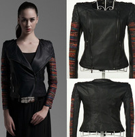 Women PU Leather 2014 New Brief National Style Patchwork Ladies PU Leather Jacket High Quality Plus Size Short Leather Clothing