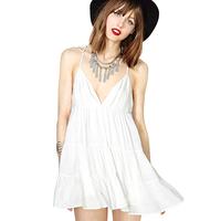 Hot Sexy Spaghetti Strap Desigual women summer dress vestidos casual dress vestido de festa vestidos sexy  V-neck chiffon dress