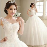 Fashion New Bride Flower One Shoulder Lace Wedding dress 2014 Elegant White vestido de noiva wedding dresses bridal gwon W40