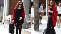 2014Large Size New Fashion Women Knitted Sweater Loose Long Batwing Sleeve Cardigan Solid Single Breasted  Women Cardigans  A063