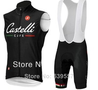 New 2014 Castelli CAFE Sleeveless Cycling Jersey and Gel Cushion bib Shorts Kit Castelli Cycling Clothing Black Free Shipping