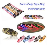 Free Shipping Nylon Camouflage Style Flashing Dog Collar, LED Dog Glowing Collar, Camouflage Dog Collar, Length Adjustable.