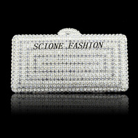 Hot Sale Women Single Side crystal diamond clutch Women Evening Bag Brand Designer Shoulder bags With Chain  Women Handbag SH93