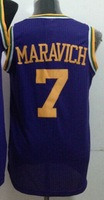 Cheap Sale #7 Pete Maravich Men's Purple 2014 New fabric Basketball jerseys,Sewing logos,