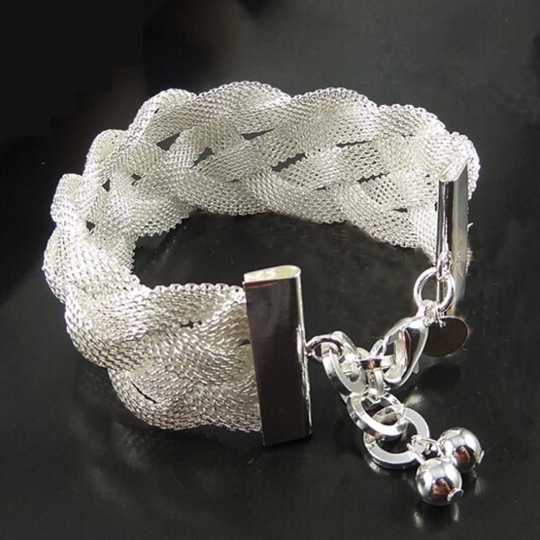 Women Sterling Silver Jewelry Braid 925 Silver Bracelets Bangles Fashion Jewelry Pulseiras Femininas Bracelets For Women SZ3095(China (Mainland))