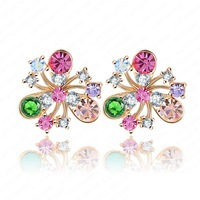 Retail-Free Shipping High Brand Stud Earrings Real 18K Gold Plated   Element Austrian Crystal Statement Earrings ER0012-C