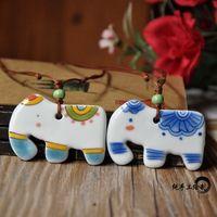 National trend jewelry ceramic hand painting necklace circleof pendant Women
