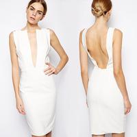 2014 summer dress  vestidos sexy racerback V-neck d383 sleeveless one-piece dress