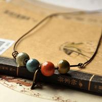 Handmade accessories jingdezhen ceramic necklace handmade knitted bead vintage copper