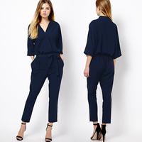 Richcoco fashion three quarter sleeve V-neck lacing chiffon jumpsuit d310 jumpsuit