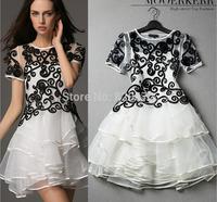 2014 new European and American big hollow ribbon romantic lotus pose two sets short-sleeved dress